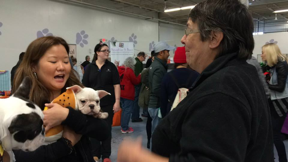 Cooper's mom chats it up with angel of all Chicagoland Frenchies, president of the Chicago French Bulldog Rescue, Mary Scheffke.