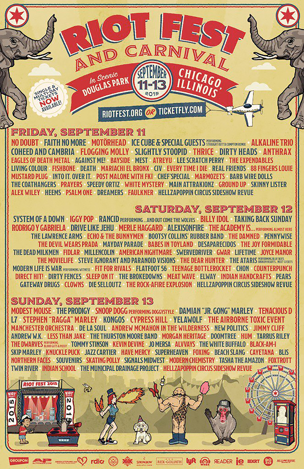 Just look at that lineup. Tell us there isn't ONE band you want to see on there. No Doubt? Iggy Pop? Billy Idol? Modest Mouse?? The Prodigy?? Snoop Dogg??? WOW. This is craziness!